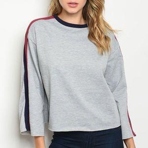 Gray sweatshirt style top w/navy & burgundy stripe